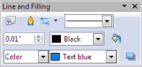 OpenOffice Draw Line and Filling Toolbar