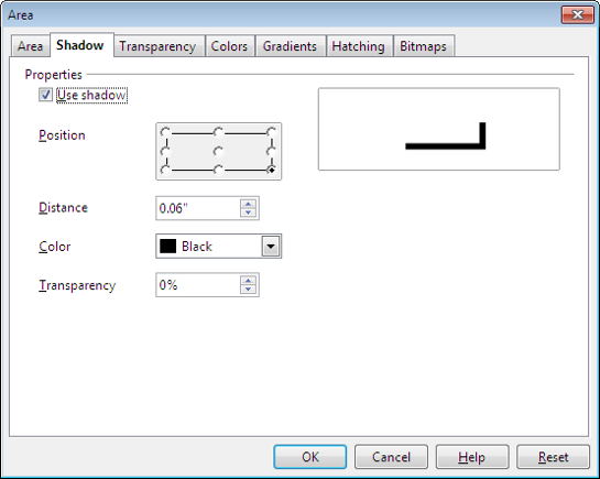 OpenOffice Draw Area Window - Shadow Tab