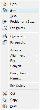 OpenOffice Draw Area Menu