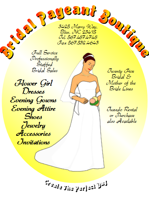 OpenOffice Draw Bridal Pageant Boutique Flyer