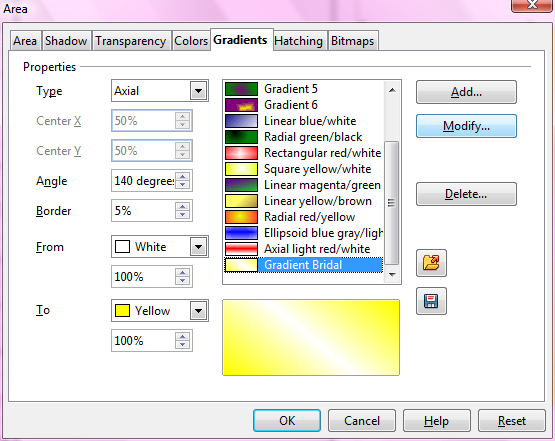 OpenOffice Draw Area Window Gradients Tab