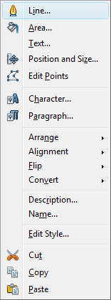 OpenOffice Draw Line Menu