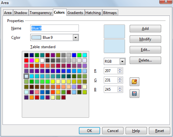 OpenOffice Draw 4.0 Area Window - Colors Tab