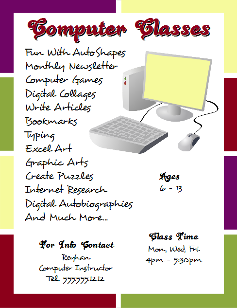 OpenOffice Draw 4.0 Computer Classes Flyer