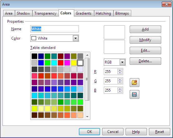 OpenOffice Draw Colors Tab Custom Color 1 Settings