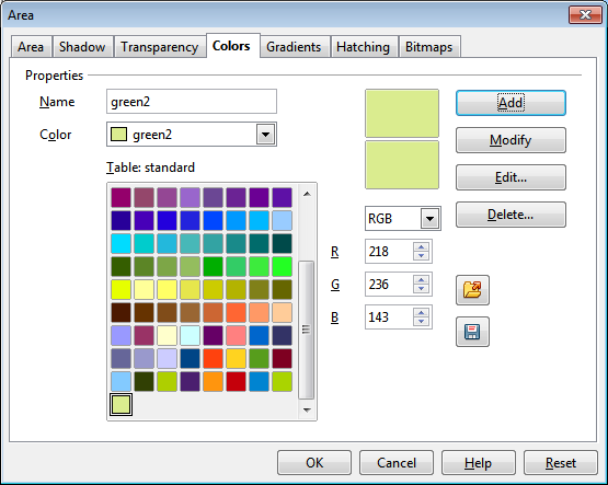 OpenOffice Draw Colors Tab Custom Color 2 Settings