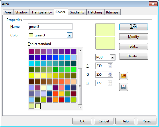 OpenOffice Draw Colors Tab Custom Color 3 Settings