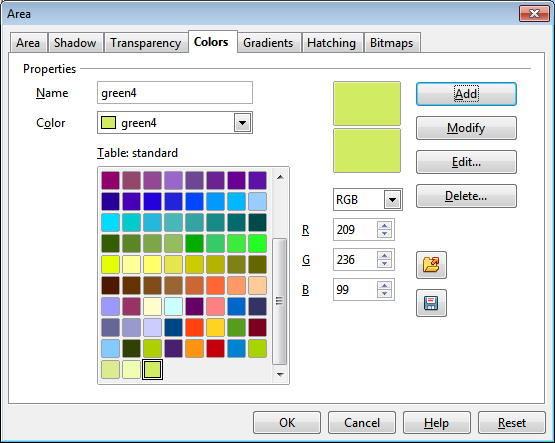 OpenOffice Draw Colors Tab Custom Color 4 Settings