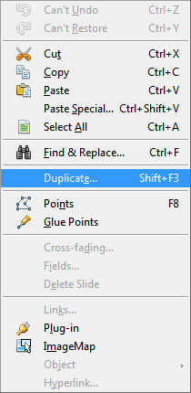 OpenOffice Draw Edit Menu Duplicate