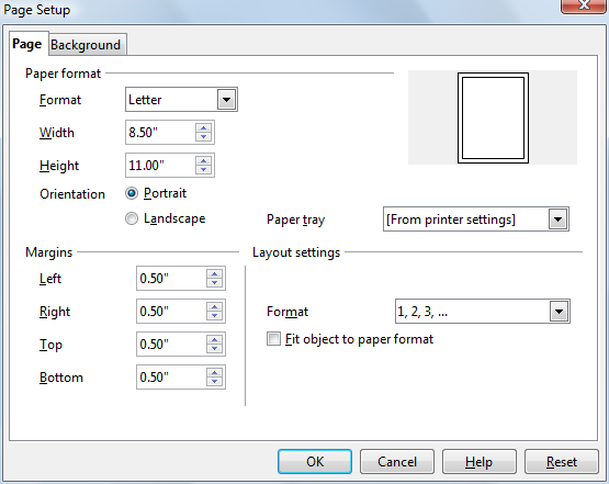 OpenOffice Draw Page Setup Window