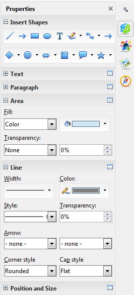 OpenOffice Draw 4.0 Properties Sidebar Extended