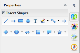 OpenOffice Draw 4.0 Properties Sidebar