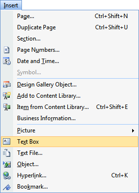 Microsoft Publisher Insert Menu - Text Box