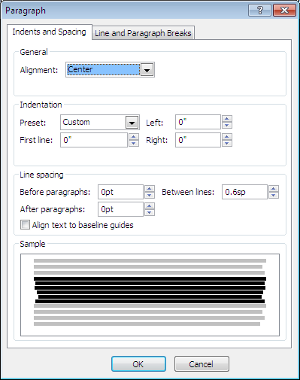Microsoft Publisher Paragraph Window