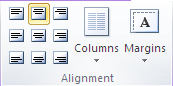 Microsoft Publisher 2010 Alignment Group Center Icon