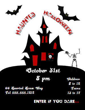 Microsoft Publisher 2010 Haunted Halloween Flyer