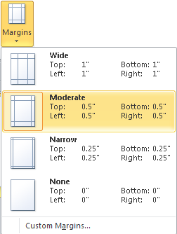 Microsoft Publisher 2010 Margins Moderate