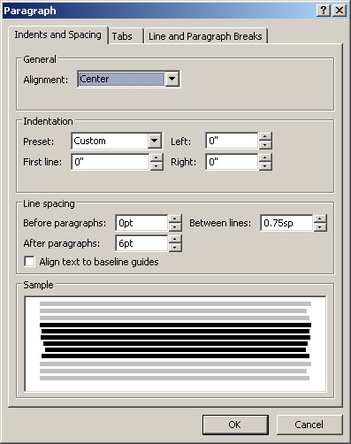 Microsoft Publisher 2010 Paragraph Window