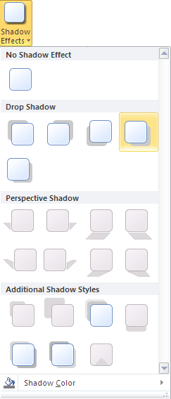 Microsoft Publisher 2010 Shadow Effects Menu