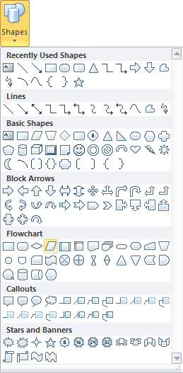 Microsoft Publisher 2010 Shapes Menu