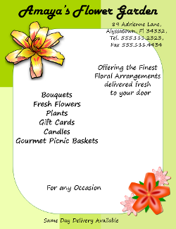Microsoft Publisher Florist Flyer