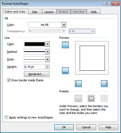 Microsoft Publisher Format AutoShape Window