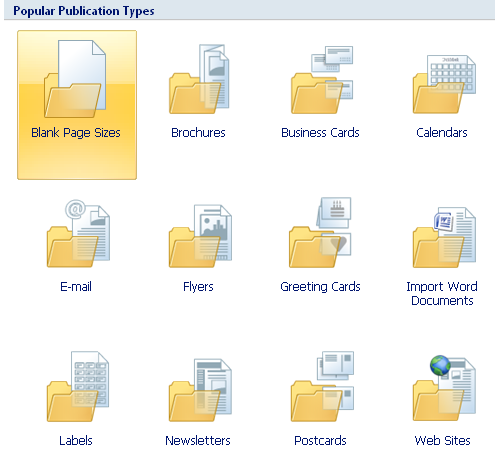 Microsoft Publisher Publication Types