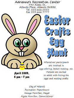 Microsoft Word Easter Egg Hunt Flyer
