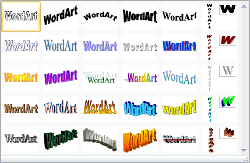 Microsoft Word 2007 WordArt Gallery