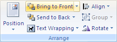 Microsoft Word 2007 Arrange Group - Bring To Front