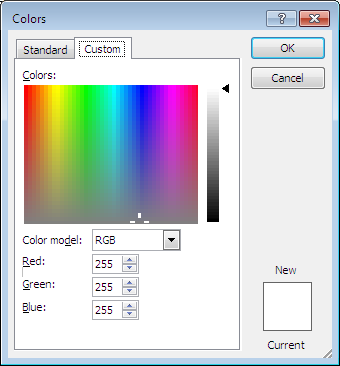 Microsoft Word 2007 Colors Window - Custom Color Tab
