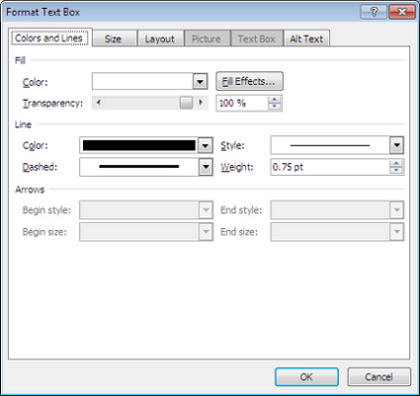 Microsoft Word 2007 Format Text Box Window