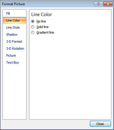 Microsoft Word 2007 Line Color Window