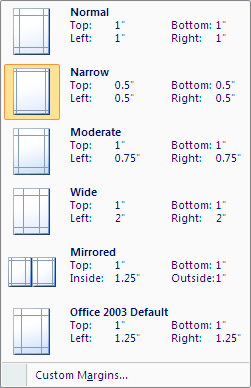 Microsoft Word 2007 Margins Menu
