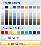 Microsoft Word 2007 Color Options Menu