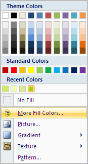 Microsoft Word 2007 Fill Colors Window