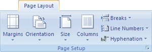 Microsoft Word 2007 Page Setup Group