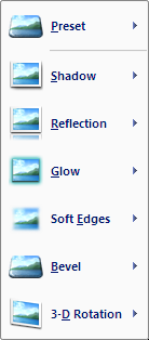 Microsoft Word 2007 Shadow Presets