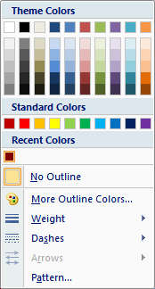 Microsoft Word 2007 Recent Colors