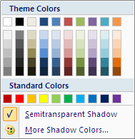 Microsoft Word 2007 Colors Menu - Semitransparent Shadow