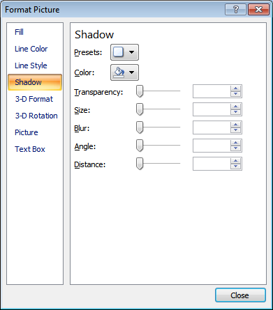 Microsoft Word 2007 Shadow Window