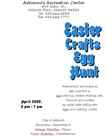 Microsoft Word 2007 Easter Egg Hunt Flyer with Text
