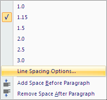 Microsoft Word 2007 Line Spacing Options